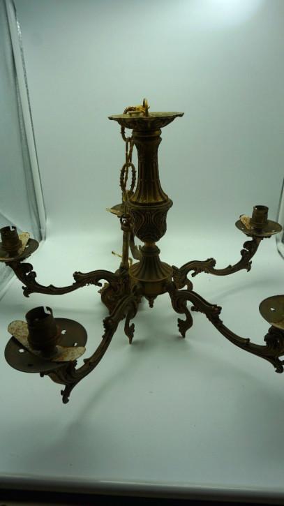 Antiker Bronzeleuchter Fünfarmig