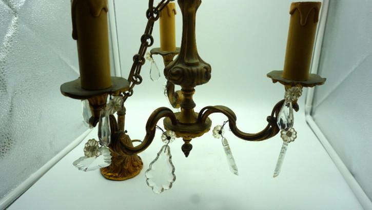 Zwei antike goldene Dreiarm Leuchter mit Kristallen