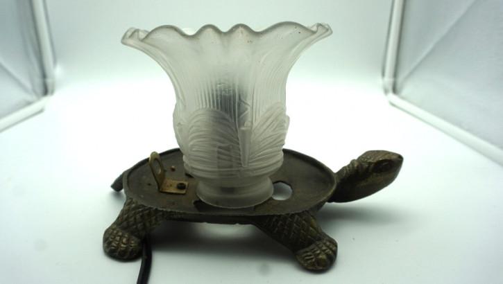 Tischlampe schildkröte mit Tulpenschirm Vintage