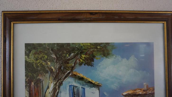 Antikes Gemälde Boccia Szene in Holzrahmen