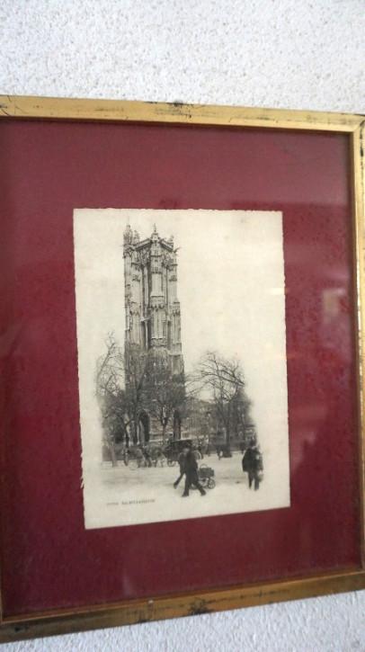 Antiker Goldrahmen Schwarz-Weiß Gemälde Turm