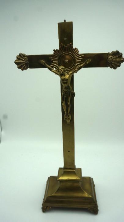 Jesuskreutz Kruzifix Messing vintage Frankreich