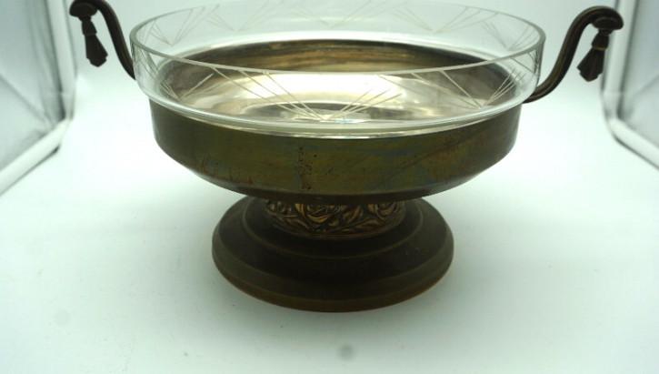 Obstschale centerpiece Tischschale Jugendstil Plated und Kristalleinsatz