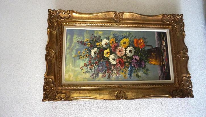 Oelbild auf Leinwand Blumen im Goldrahmen Vintage