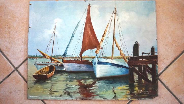 Oelbild  Segelbild  oel auf Holzboard  Frankreich
