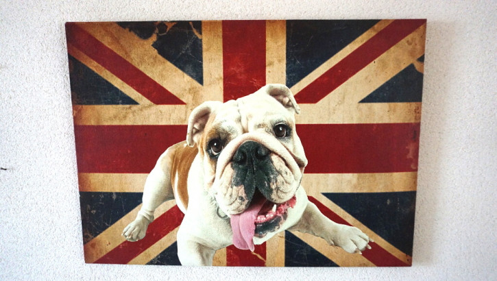 Oeldruck Very British  Hund  Englische flagge