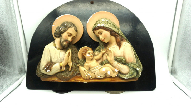 heilige familie Figuren auf schwarz. Platte Platre  France