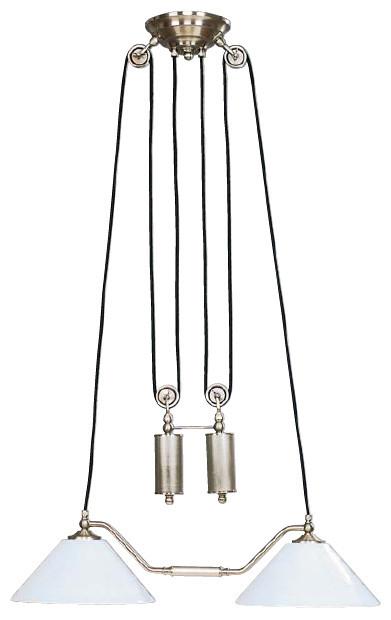 Doppelzug Deckenleuchte Zylinder, Nickel Matt 40 cm