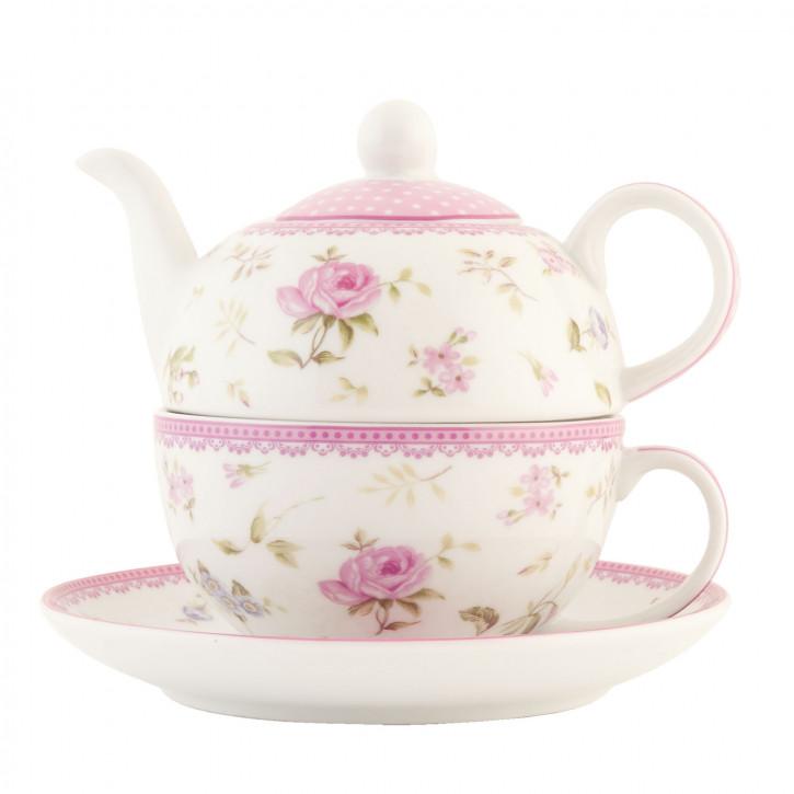 Wunderschöne Teekanne mit Service, rosa