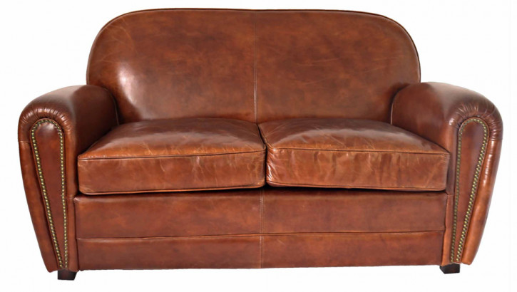 """Classic Paris"" Vintage Clubsofa Art Deco Ledersofa Braun Bauhaus Sofa 2-Sitzer"
