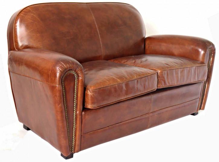 """Classic Paris"" Vintage Clubsofa Art Deco Ledersofa Braun Bauhaus Sofa"