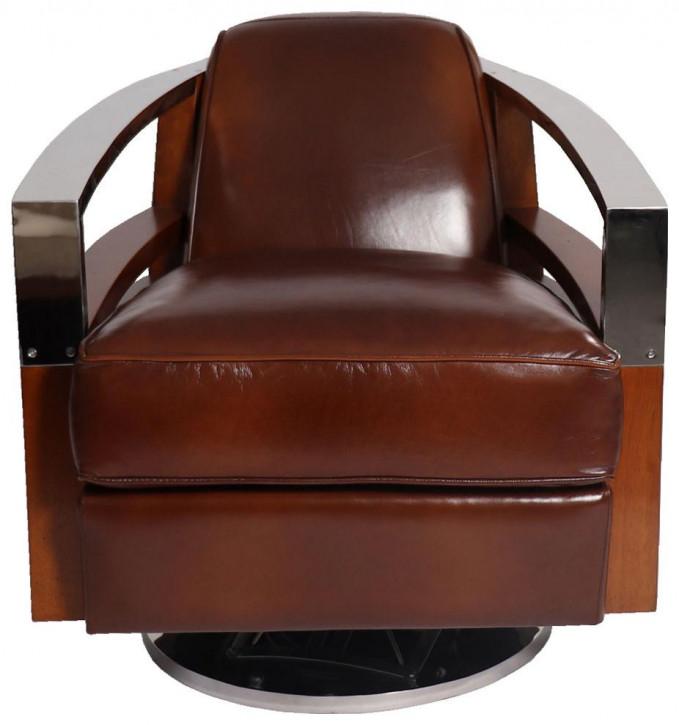 Retro Art Deco Sessel Leder Massivholz Metall französisch klassisch