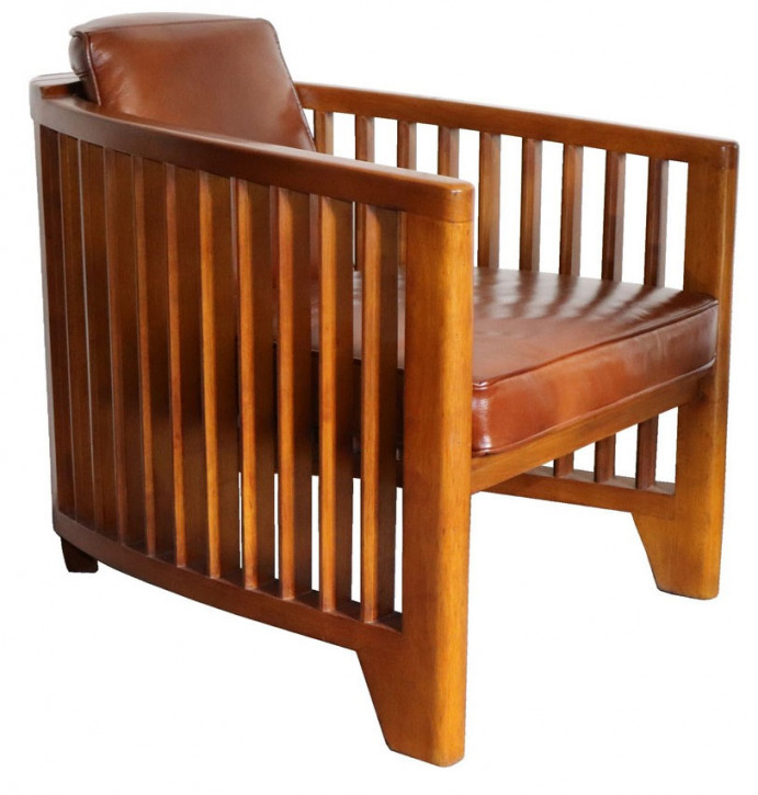 Clubsessel Massivholz Leder Sessel Art Deco Retro klassisch französisch