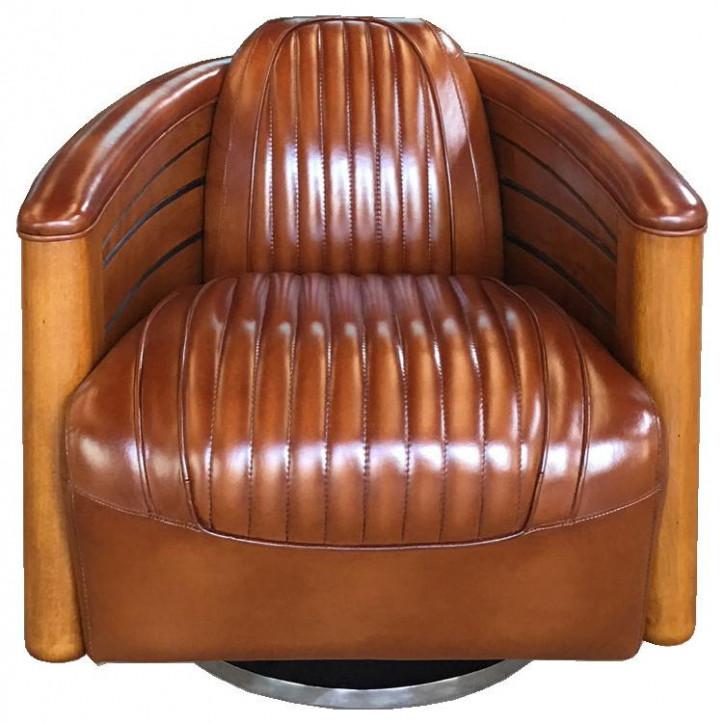 Klassischer Retro Art Deco Sessel Leder Massivholz französisch