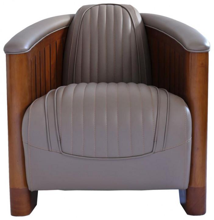 Ledersessel Retro Art Deco Sessel Leder Massivholz französisch klassisch