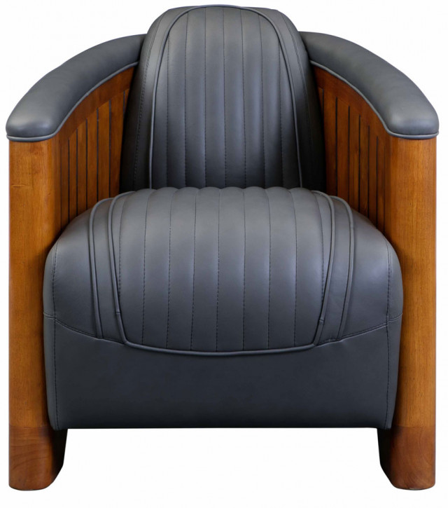 Leder Sessel Clubsessel Massivholz Retro Art Deco klassisch