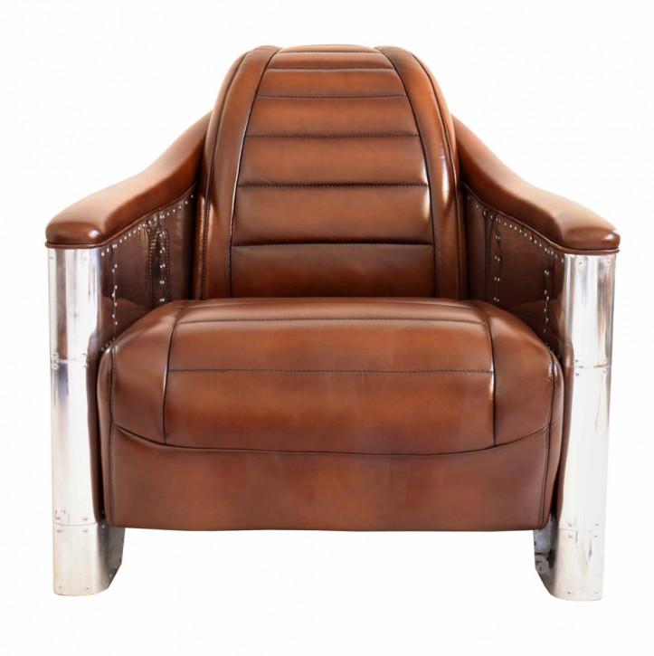 Clubsessel Retro Art Deco Aluminium Leder klassisch französisch