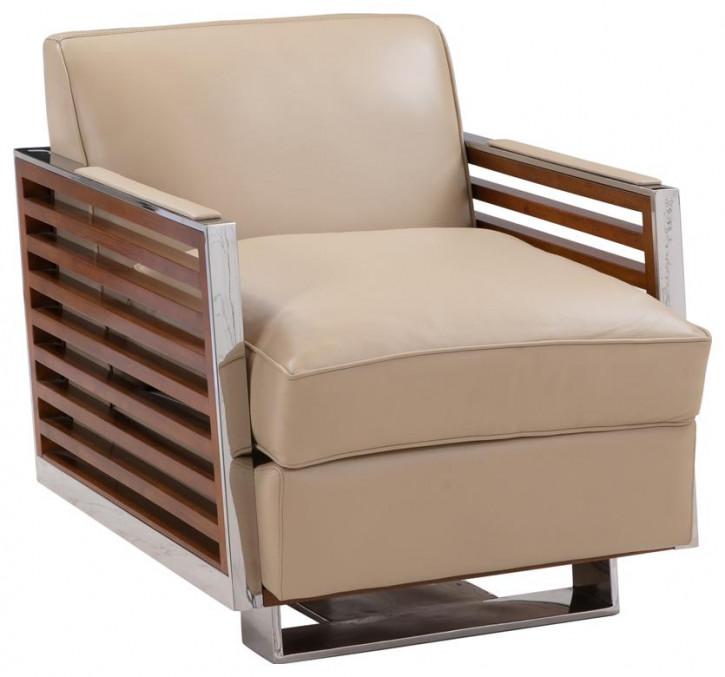 Ledersessel beige Art Deco Retro Sessel Metall Clubsessel französisch