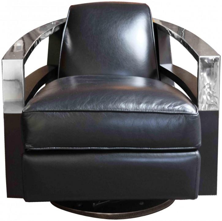 Clubsessel Art Deco Retro Leder Sessel Metall klassisch französisch
