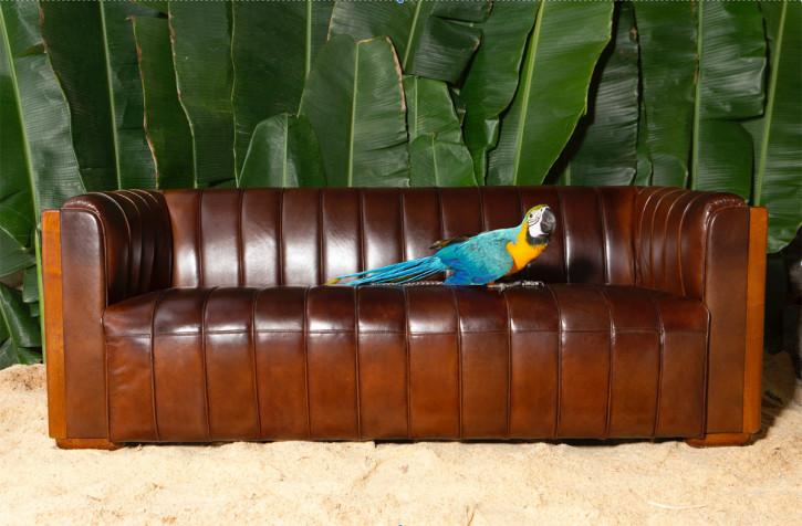 Französisches klassisches Ledersofa Echtleder Sofa Vintage
