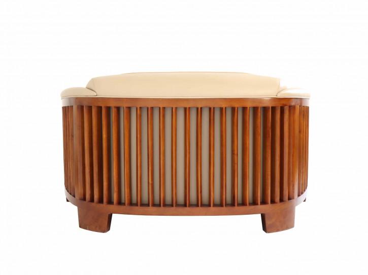 Klassisches Zweisitzer Echtleder Sofa Massivholz Ledersofa Vintage