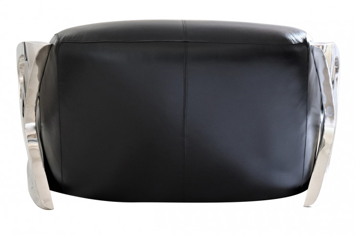 Art Deco Retro Vintage Sofa Echtleder Ledersofa Edelstahl