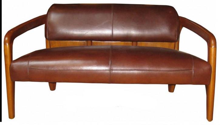 Klassisches französisches Retro Vintage Sofa Ledersofa Echtleder Massivholz 2-Sitzer