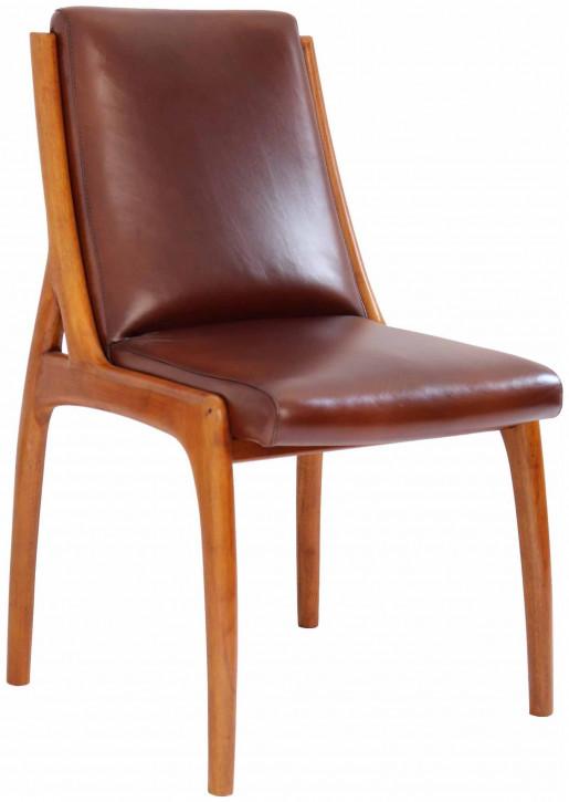Französischer klassischer Retro Vintage Stuhl Lederstuhl Echtleder Massivholz