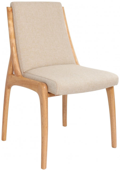 Französischer Leinen Stuhl Stoffstuhl klassisch Retro Vintage Massivholz
