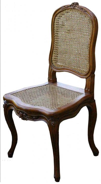 Klassischer französischer Retro Vintage Eichen Stuhl Massivholz