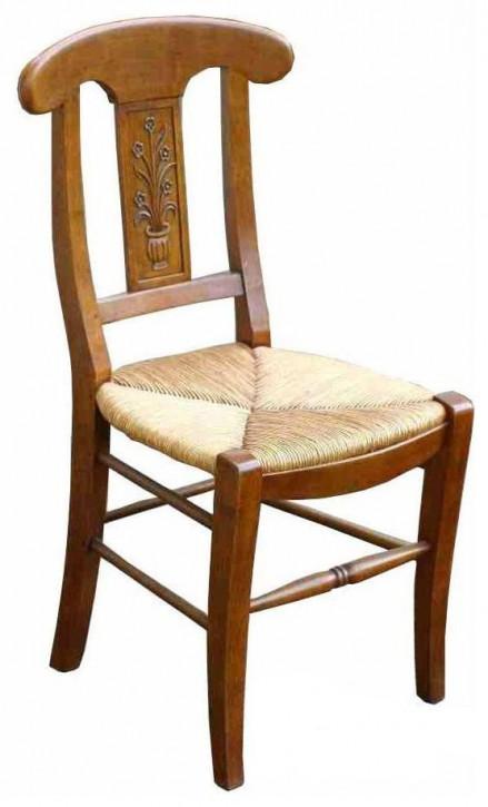 Klassischer französischer Massivholz Stuhl Eiche Holzstuhl Vintage Retro