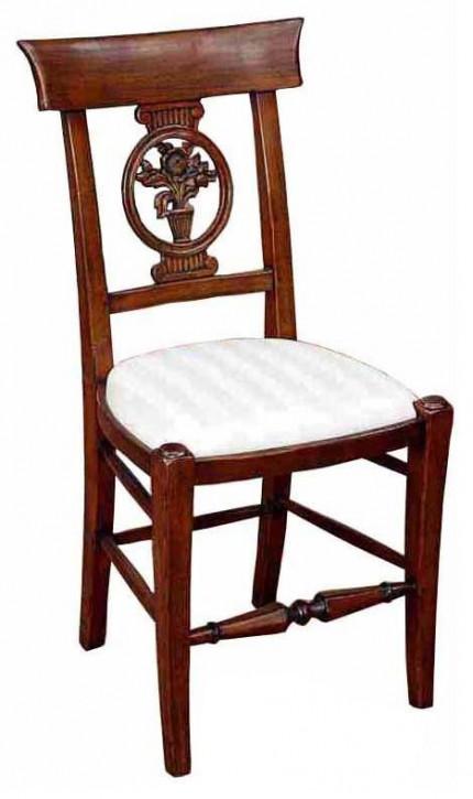 Französischer klassischer Retro Vintage Stuhl Holzstuhl Canvasstoff Stoffstuhl