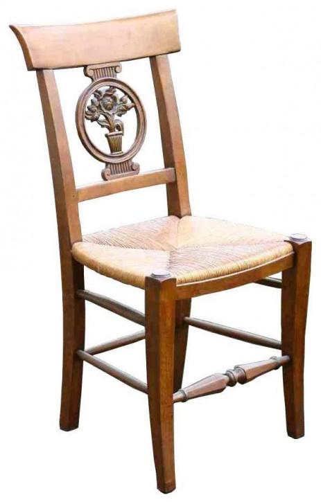 Klassischer französischer Retro Vintage Stuhl Eiche Massivholz Holzstuhl