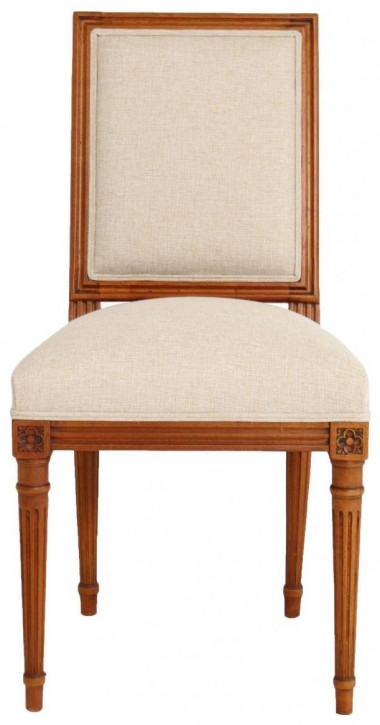 Klassischer französischer Canvas Stoff Stuhl Massivholz Holzstuhl