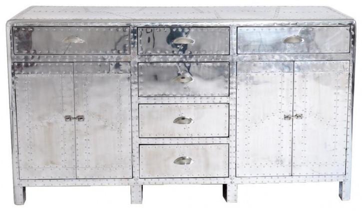 Aluminium Schrank Kommode Sideboard Massivholz Retro Vintage Art Deco