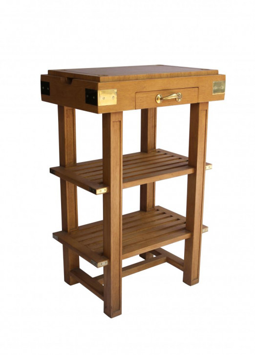 Retro Vintage Regal Beistelltisch Massivholz Holzregal Holztisch