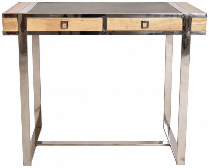 Klassischer französischer Schreibtisch Massivholz Echtleder Holztisch