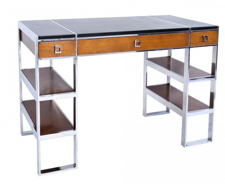 Massivholz Schreibtisch Edelstahl Echtleder industriell klassisch französisch