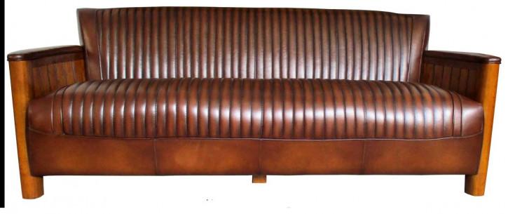 """Maritime französische Sofa """"Le Conquet"""" 3 Sitzer Vintage Leder"""