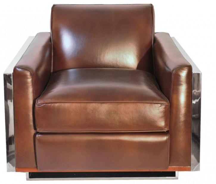 """""""Napoli"""" Art Deco Ledersessel Leder Vintage Brown"""