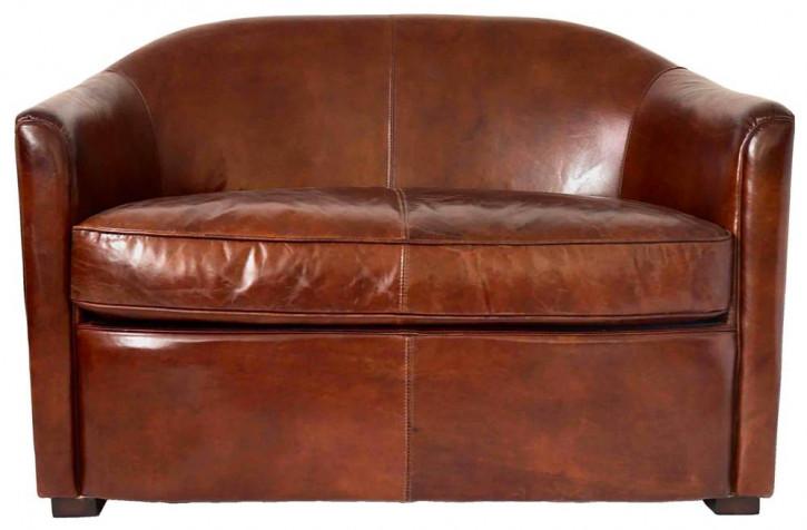 Echtleder Sofa klassisch Seattle Retro Vintage Ledersofa 2-Sitzer