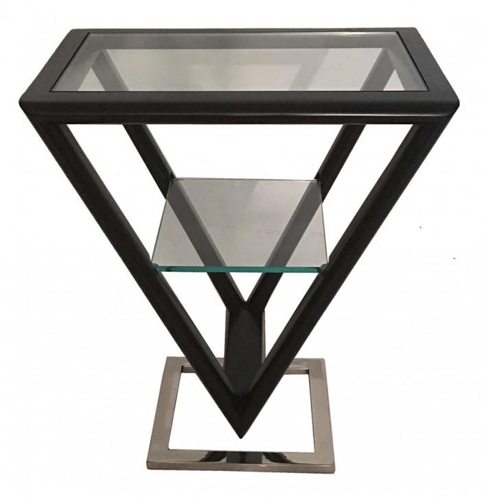 Delta Etagere Iso Inox Glas Stahl Holz Dunkel Mahagoni