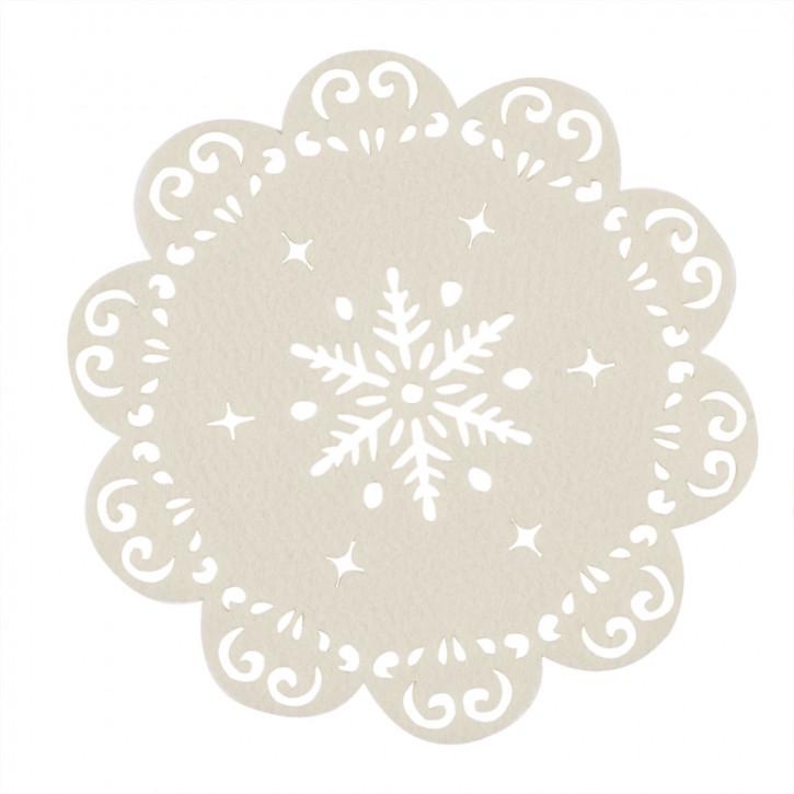 Tischset rund mit Sternmuster, beige Ø25 cm