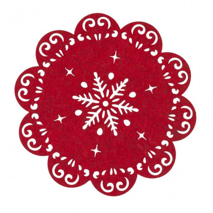 Tischset rund mit Sternmuster, rot Ø25 cm