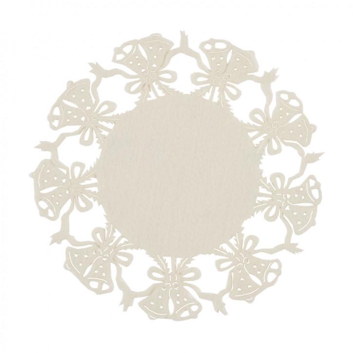 Tischset rund mit Glockenmuster, beige Ø25 cm