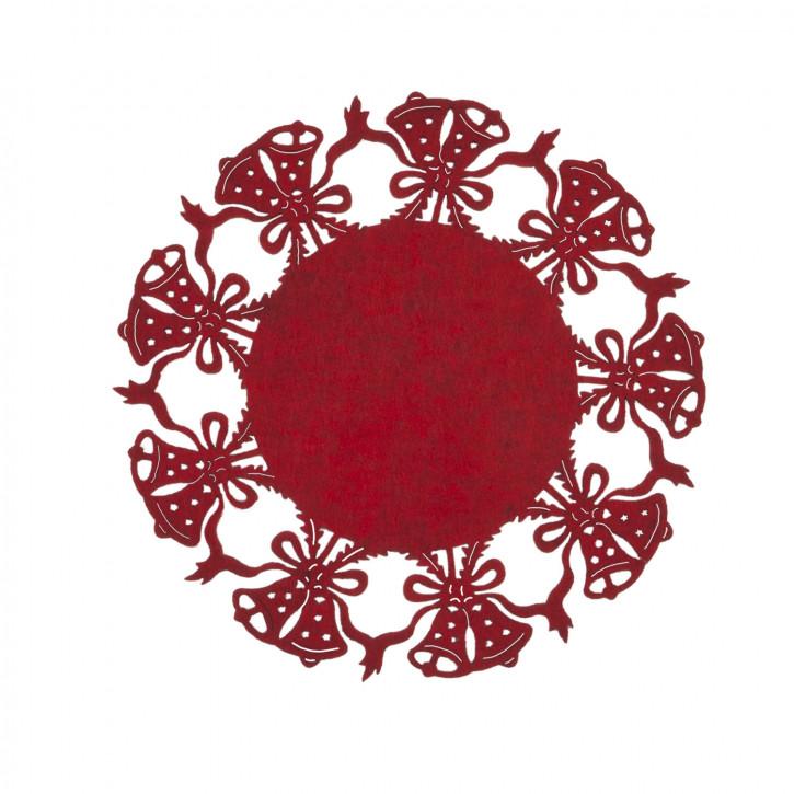 Tischset rund mit Glockenmuster, rot Ø25 cm