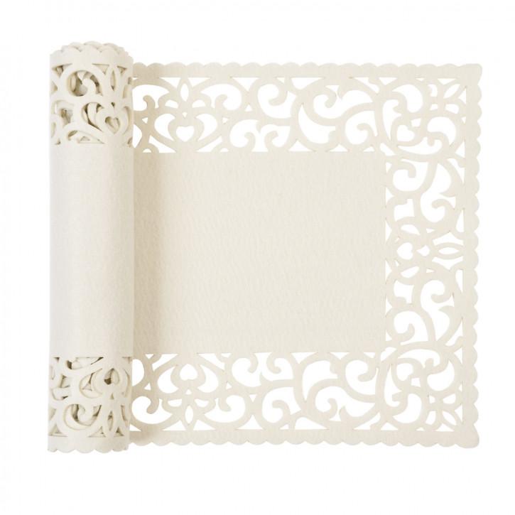 Tischläufer mit breitem Rand, hell beige 30*120cm