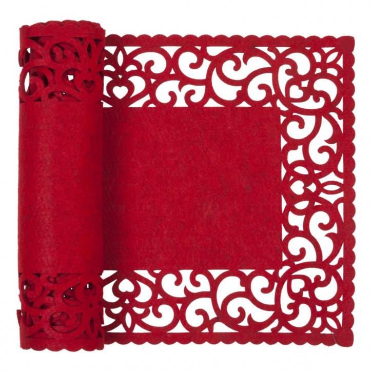 Tafelloper 30x120 cm rood