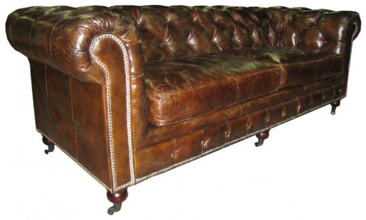 original englisches Chesterfield Leder Sofa Vintage 3-Sitzer Anilinleder