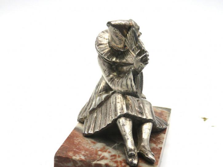 Originale Art déco Buchstütze mit Harlekin Figur